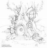Tree Pages Simple Drawings Treehouse Houses Coloring Drawing Sketch Colouring Fairy Adult Visit Silvo sketch template