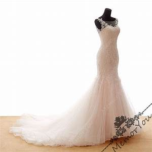 Blush pink lace wedding dresses beads soft tulle skirt for Soft pink wedding dress