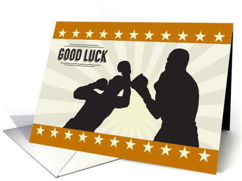 Boxing Silhouette With Retro Border For Good Luck Card