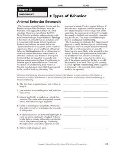 instinct learned behavior lesson plans worksheets