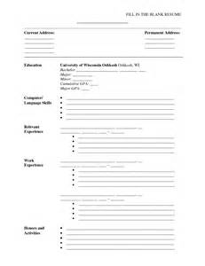 blank resume forms free resume exle fill in the blank resume templates free printable resume forms to fill out fill