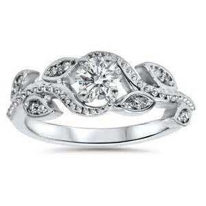 vintage floral engagement rings 3 8ct vintage floral leaf engagement ring 14k white gold ebay