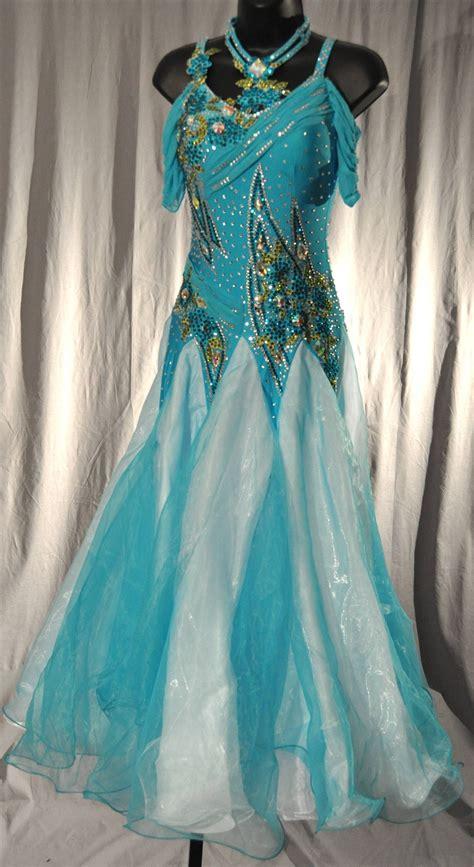 elegant aqua drop shoulder mesh sleeves ballroom dress