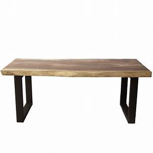 Table design bois de suar massif pieds noir mat en U 200cm