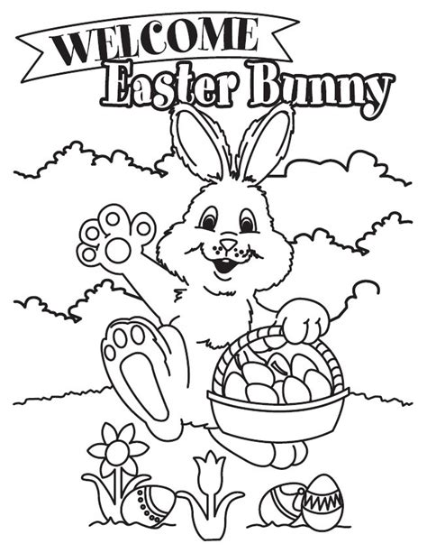 Easter Color Pages Printable by Coloring Activity Pages Quot Welcome Easter Bunny Quot Coloring
