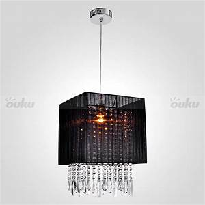 Black drum shade flush mount crystal chandelier pendant