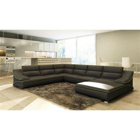 canapé en cuir gris grand canapé d 39 angle en cuir gris et vert design achat