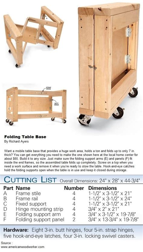 folding table base diy desk plans