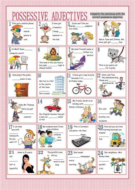 possessive adjectives worksheet free printables worksheet