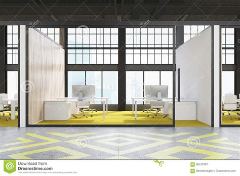 bright floor l for office office cubicle with yellow floor stock illustration