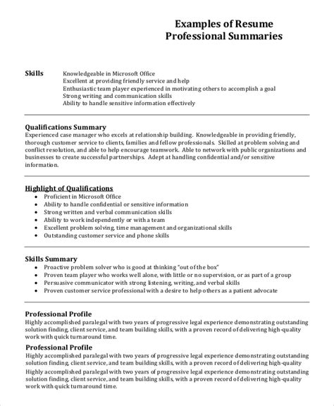 Exle Of Resume Profile by Resume Profile Exle 7 Sles In Pdf Word