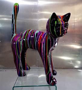 Statue Animaux Design : chat trash design m animaux et statues couleurs peintes en r sine ~ Teatrodelosmanantiales.com Idées de Décoration