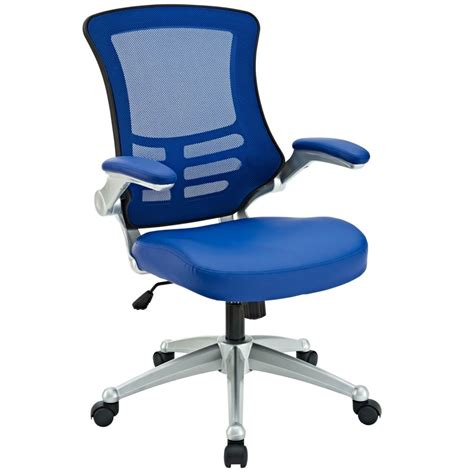 lexmod attainment office chair with blue mesh