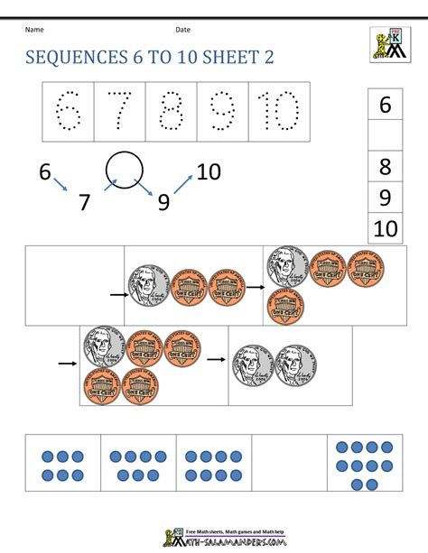 preschool number worksheets sequencing to 10