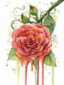 Red Rose Dripping Watercolor Painting by Olga Shvartsur