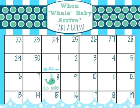 Baby Pool Calendar Template by Items Similar To Printable Baby Due Date Calendar