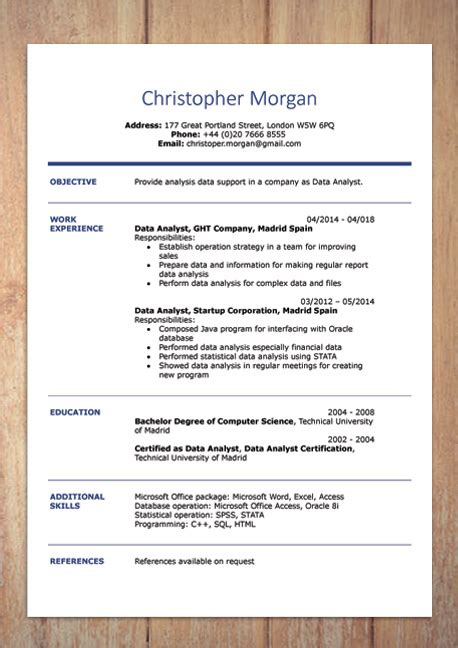 Resume Creator Canada by Cv Resume Templates Exles Doc Word