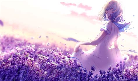 Anime Flower Wallpaper - anime hairs butterfly dress flowers hd anime 4k