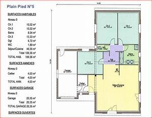 plan maison plain pied 5 pieces With marvelous plan maison en l 100m2 2 maison plain pied en ossture bois ecologique