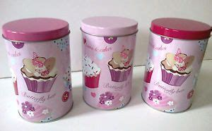 cupcake canisters for kitchen set 3 pink cup cake coffee sugar tea kitchen storage jars