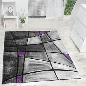 Teppich Grau Lila : designer teppich modern kariert mit handgearbeitetem konturenschnitt grau lila wohn und ~ Indierocktalk.com Haus und Dekorationen