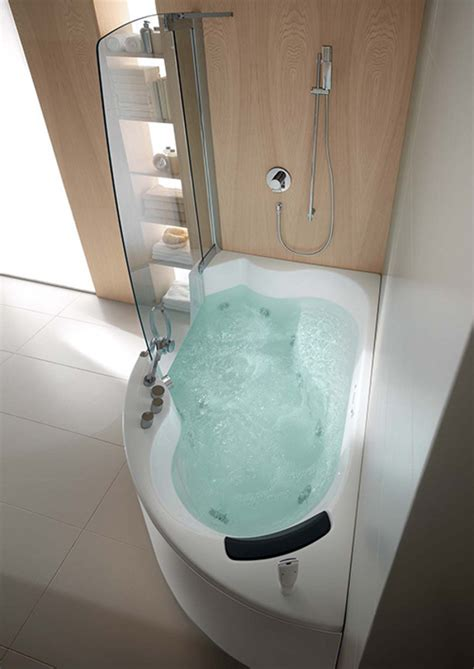 Jetted Bathtub Shower Combo by Teuco Corner Whirlpool Shower Integrates Shower With Bathtub