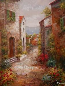 italian, tuscan, art, mediterranean, painting, village, style