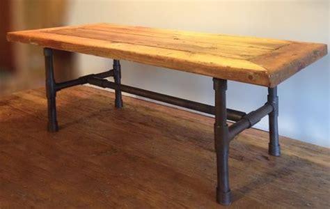 buy  handmade reclaimed wood pipe leg coffee table