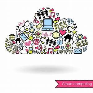 Cloud Computing And Social Media Concept Cute Hand Drawn