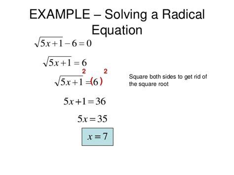 77 Solving Radical Equations