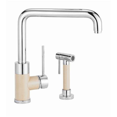 blanco kitchen faucet shop blanco purus i biscotti mix 1 handle deck mount high arc kitchen faucet at lowes com