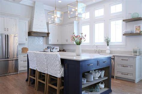 navy blue kitchen island  open shelves cottage kitchen