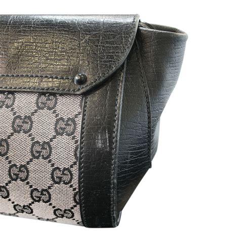 gucci bamboo black monogram leather bullet shoulder bag purse