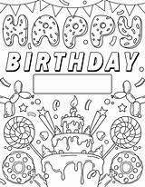 Coloring Birthday Happy Printable Sign Crayola Signs Colouring Mom Adults Template Card Sheets Princess Balloons sketch template