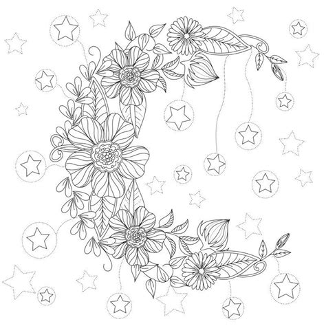 Floral Moon coloring page : Design MS Moon coloring