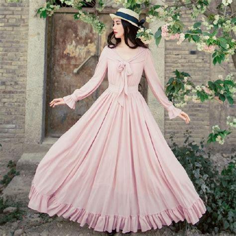 New romantic vintage pink ribbon bow dress long sleeved v neck big swing long maxi princess ...