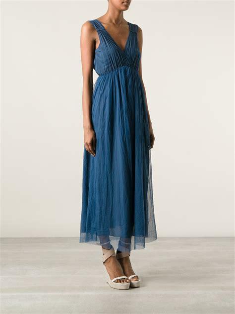 pleated hem sleeveless dress lyst forte forte pleated dress in blue