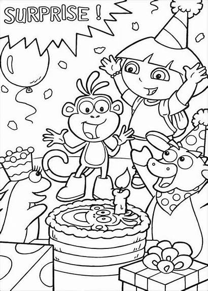 Coloring Dora Pages Surprise Birthday Colouring Template