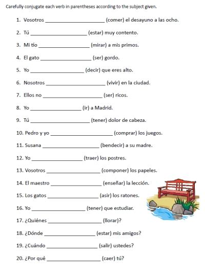 go verbs worksheets printable spanish