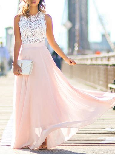 pink fit and flare dress maxi dress white lace top pink skirt sleeveless