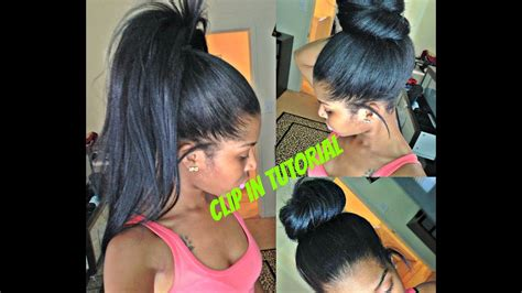 high ponytail  bun  clip ins  lumps youtube