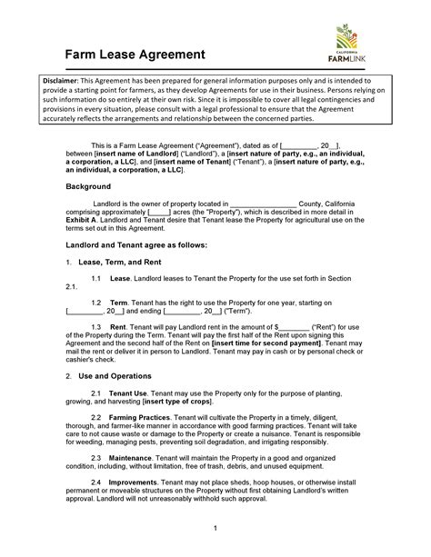 california farm cash lease agreement  word
