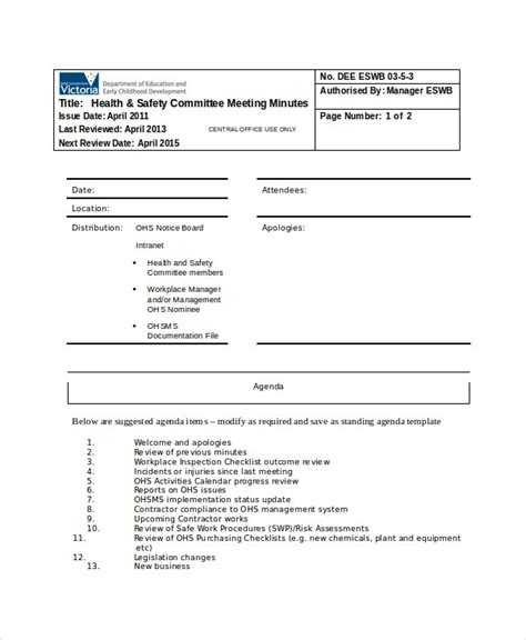 safety meeting minutes template   word