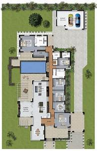 Floor, Plan, Friday, Luxury, 4, Bedroom, Family, Home, With, Pool