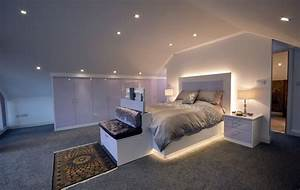 Langley, Interiors, Stylish, And, Modern, Bedroom, Design, In, White, And, Lilac, With, A, Light, Up, Bed, Frame