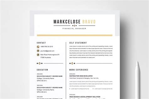 Professional Resume Template Exles by Resume Templates Creative Market