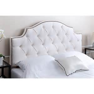 abbyson living royal tufted white linen headboard