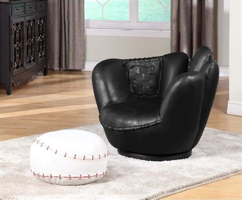 baseball glove chair rooms to go baseball swivel chair w ottoman eclectic room and