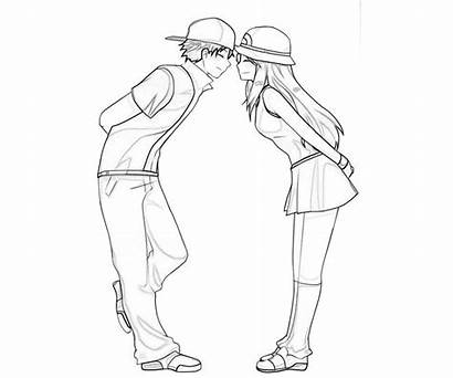 Coloring Couple Anime Pages Couples Kissing Leaf