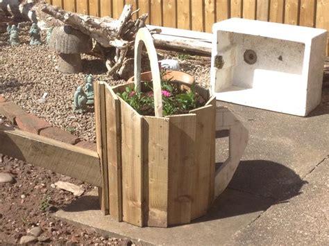 wooden pallet wheelbarrow planter